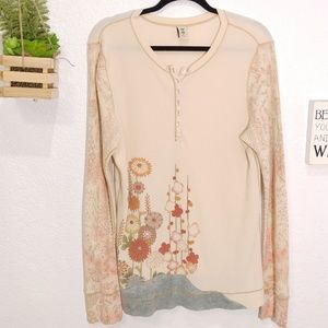 Lucky made with Peace and Love Henley top size XL